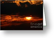 Gloaming Greeting Cards - Hiding Sunset Greeting Card by Susan Stevenson