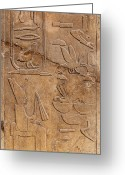 Archaeology Greeting Cards - Hieroglyphs on ancient carving Greeting Card by Jane Rix