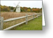 Cape Cod Mass Photo Greeting Cards - Higgins Farm Windmill Brewster Cape Cod Greeting Card by Matt Suess