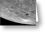 Oblique Greeting Cards - High Altitude Oblique View Of The Lunar Greeting Card by Stocktrek Images