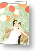 Husband Digital Art Greeting Cards - High Angle View Of Newlywed Couple Sitting On Garden Bench Greeting Card by Eastnine Inc.