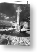Silver Gelatin Greeting Cards - High Cross Greeting Card by Simon Marsden