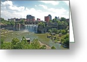 Rochester Ny Greeting Cards - High Falls Greeting Card by Aimee L Maher