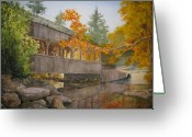Covered Bridge Painting Greeting Cards - High Falls Bridge Greeting Card by Shirley Braithwaite Hunt