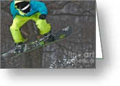 Snow Boarding Greeting Cards - High Flyin Greeting Card by Lois Bryan