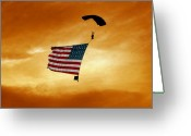 Spangled Greeting Cards - High Flying Flag Greeting Card by Paul Anderson