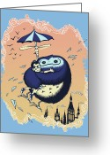 Umbrella Digital Art Greeting Cards - High Flying Hugs Greeting Card by Christopher Ables