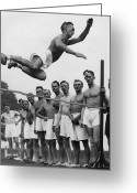 Shorts Greeting Cards - High Jump Greeting Card by Fox Photos