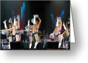 Cheerleader     Greeting Cards - High kick Greeting Card by Don Prioleau