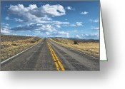 Yellow Line Greeting Cards - High Plains Desert Road Greeting Card by A L Christensen