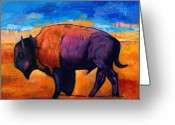 Buffalo Painting Greeting Cards - High Plains Drifter Greeting Card by Johnathan Harris