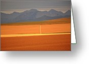 Alberta Landscape Greeting Cards - High Plains of Alberta with Rocky Mountains in distance Greeting Card by Mark Duffy