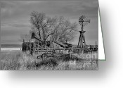 Windmill And Tree Greeting Cards - High Plains Wind Greeting Card by Ron Cline