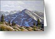 Snow Capped Painting Greeting Cards - High Sierras Study Greeting Card by Frank Wilson