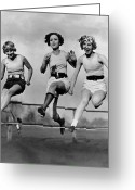Athlete Greeting Cards - High Stepping Greeting Card by Topical Press Agency