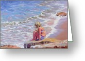 Hull Ma Greeting Cards - High Tide Greeting Card by Laura Lee Zanghetti