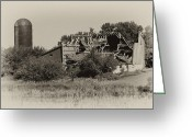 Silo Greeting Cards - High Winds Old Barn Not Good Greeting Card by Wilma  Birdwell