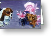 Costumes Painting Greeting Cards - HighClass HotDogs Greeting Card by Pat Burns