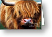 Cows Framed Prints Greeting Cards - Highland Cow Greeting Card by Michelle Wrighton