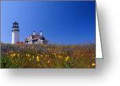 Lighthouse Home Decor Greeting Cards - Highland Lighthouse Cape Cod Greeting Card by Skip Willits