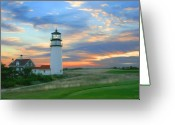 Sunrise Mixed Media Greeting Cards - Highland Lighthouse Sunrise Greeting Card by Sue  Brehant