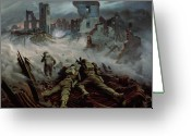 Caen Greeting Cards - Highlanders advancing to Caen Greeting Card by Orville Norman Fisher