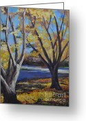 Autumn Leaves Pastels Greeting Cards - Highlights in G Major Greeting Card by Debbie Harding