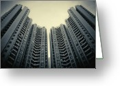 Hong Kong Greeting Cards - Highrise Residential Buildings In Hong Kong Greeting Card by Yiu Yu Hoi