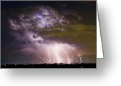 Lightening Storm Greeting Cards - Highway 52 Storm Cell - Two and half Minutes Lightning Strikes Greeting Card by James Bo Insogna