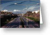 Beltway Greeting Cards - Highway interior lantern Greeting Card by Yevgeni Kacnelson
