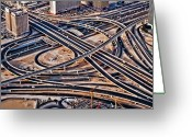 Sheikh Greeting Cards - Highway Intersection Of Greeting Card by Miemo Penttinen - miemo.net