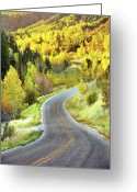 Double Yellow Line Greeting Cards - Highway Near Alpine Greeting Card by Utah-based Photographer Ryan Houston