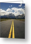 Yellow Line Greeting Cards - Highways To Tops Of World Greeting Card by Zeb Andrews
