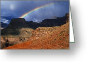 Image Type Photo Greeting Cards - Hikers And Rainbow Kaibab Trail, Grand Greeting Card by Ralph Lee Hopkins