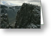 Hikers And Hiking Photo Greeting Cards - Hikers Climb To The Top Of A Peak Greeting Card by Maria Stenzel