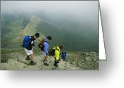 Hikers And Hiking Photo Greeting Cards - Hikers Descend Stone Stairs High Atop Greeting Card by Joel Sartore