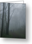 Hikers And Hiking Photo Greeting Cards - Hikers Enjoy A Foggy Outing On A Trail Greeting Card by George F. Mobley