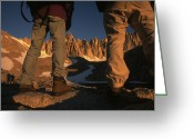 Hikers And Hiking Photo Greeting Cards - Hikers Look Toward The Peak Of Mount Greeting Card by Phil Schermeister