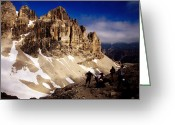 Five People Greeting Cards - Hikers Resting At Bamberger Saddle, Gruppo Sella, Dolomites, Italy Greeting Card by Witold Skrypczak
