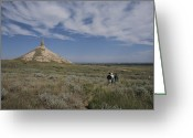 Hikers And Hiking Photo Greeting Cards - Hikers View Chimney Rock, An Historic Greeting Card by Michael S. Lewis