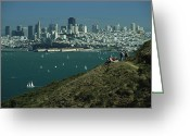 Hikers And Hiking Photo Greeting Cards - Hikers View San Franciscos Skyline Greeting Card by Phil Schermeister
