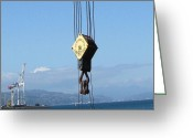 New Zealand Greeting Cards - Hikitia Crane Wellington Harbor Greeting Card by Gretchen Wrede
