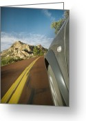 Double Yellow Line Greeting Cards - Hill From Outside a Moving Car Greeting Card by Ned Frisk