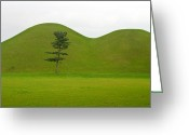 Gabor Pozsgai Greeting Cards - Hill tombs and tree Korea Greeting Card by Gabor Pozsgai