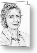 Hillary Clinton Greeting Cards - Hillary Clinton Pencil Portrait Greeting Card by Romy Galicia