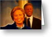 Democrat Party Greeting Cards - Hillary Rodham Clinton - United States Secretary of State - Bill Clinton Greeting Card by Lee Dos Santos