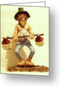 Wood Sculpture Sculpture Greeting Cards - Hillbilly Weightlifter Greeting Card by Russell Ellingsworth