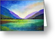 Dusk Pastels Greeting Cards - Hills and Vale Greeting Card by Shreekant Plappally