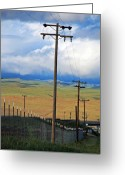 Telephone Pole Greeting Cards - Hills of Chatter Greeting Card by Kathy Yates