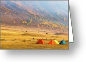 Camping Greeting Cards - Hillside Camping In Hemu, Xinjiang China Greeting Card by Feng Wei Photography